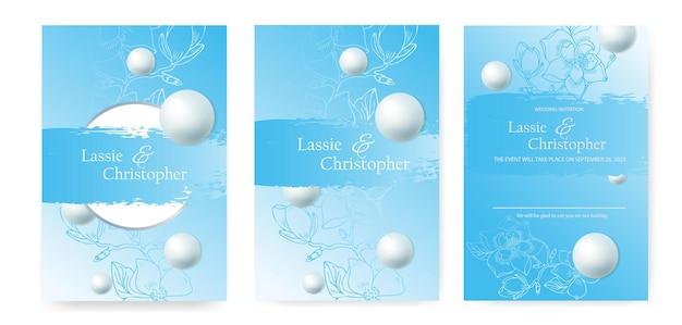 Un ensemble d'invitations de mariage avec des éléments floraux. cartes d'invitation décorées de perles volumineuses