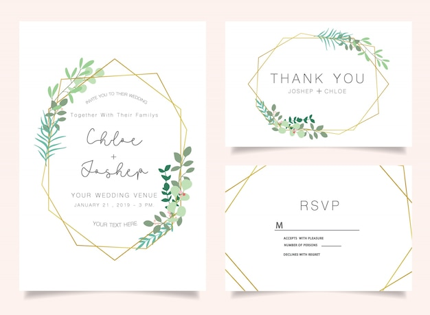 Ensemble d'invitations de mariage