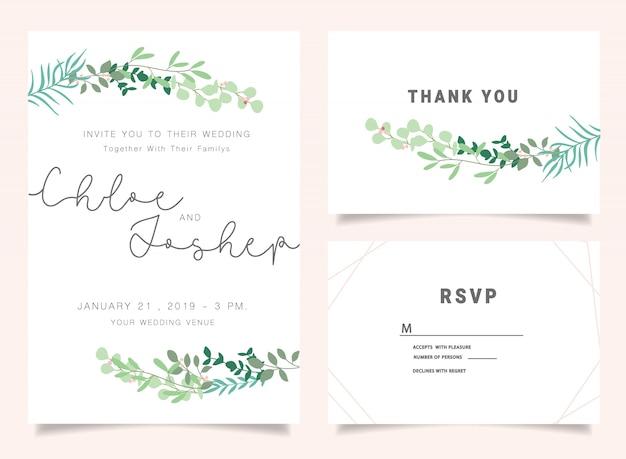 Ensemble d'invitations de mariage
