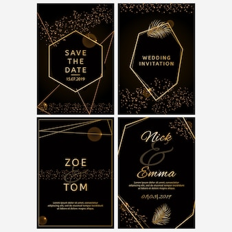 Ensemble d'invitations de mariage.