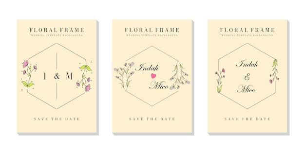 Ensemble d'invitations pour cadre floral haut de gamme