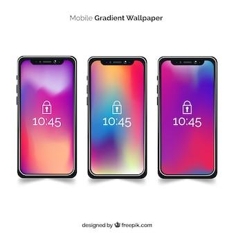 Ensemble d'iphone x avec fond d'écran dégradé