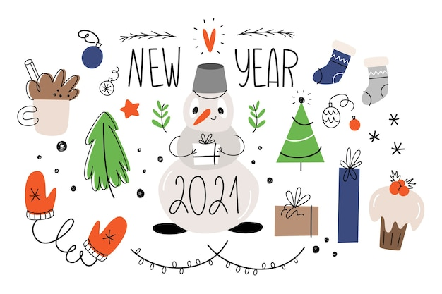 Ensemble d'isolats du nouvel an. style de griffonnage.