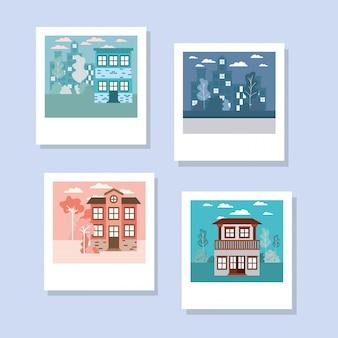 Ensemble isolé de bâtiments de maisons dans diverses photos
