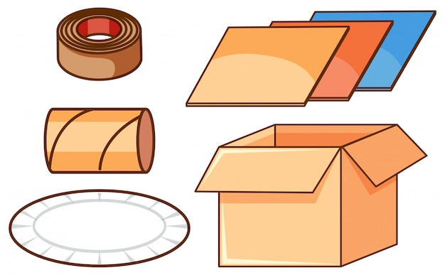 Ensemble isolé de boîtes et de papier