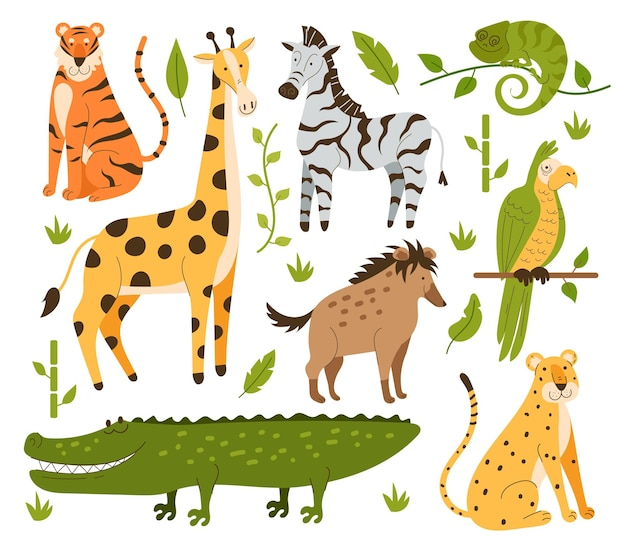 Ensemble isolé de design plat style dessinés à la main animaux de la jungle