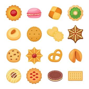 Ensemble isolé de différents gâteaux à biscuits