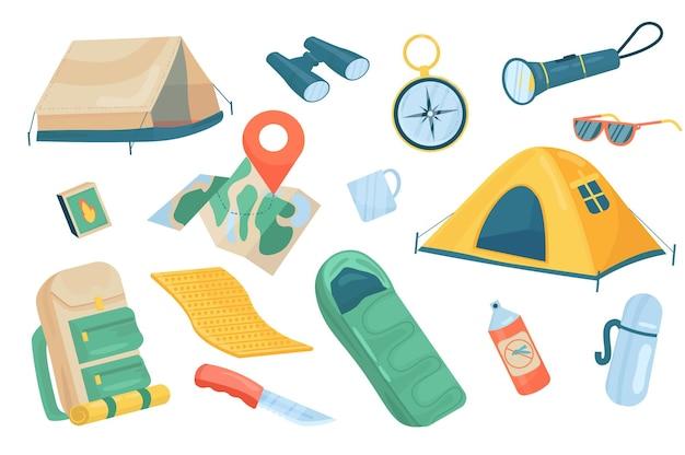 Ensemble isolé d'éléments mignons d'accessoires de voyage