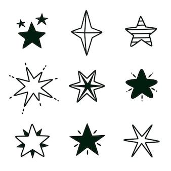 Ensemble isolé étoile doodle dessiné à la main