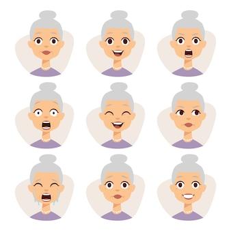 Ensemble isolé d'expressions d'avatar drôle de grand-mère face à illustration d'émotions.