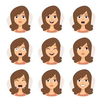 Ensemble isolé d'expressions d'avatar femme face à illustration d'émotions.