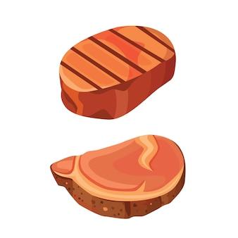 Ensemble isolé d'illustration de viande de steak de boeuf