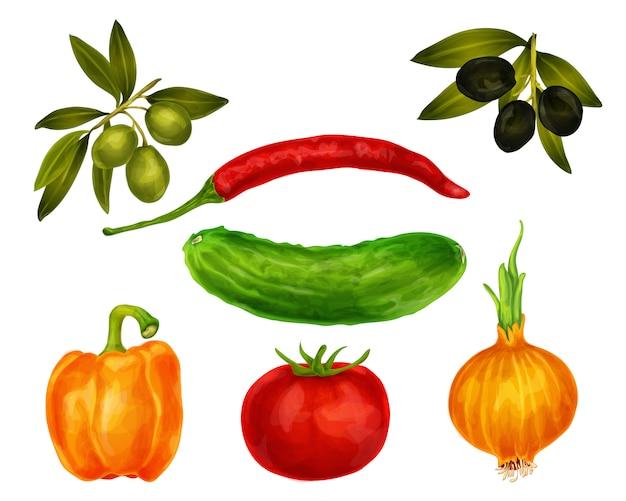 Ensemble isolé de légumes