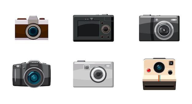 Ensemble isolé d'objet caméra. jeu de dessin animé de caméra