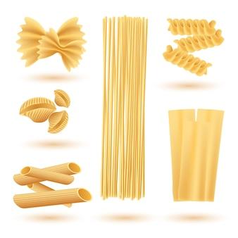 Ensemble isolé de pâtes italiennes