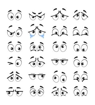 Ensemble isolé de personnages de dessin animé yeux émotion