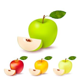 Ensemble isolé de pommes colorées