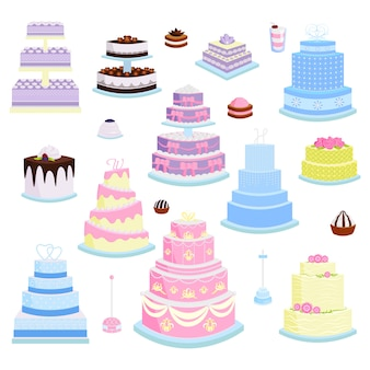 Ensemble isolé de style dessin animé tarte gâteau