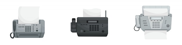 Ensemble isolé de trois télécopies. appareils de bureau, imprimantes, téléphones.