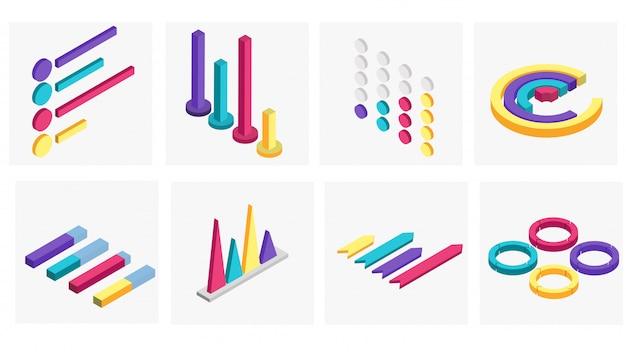 Ensemble isométrique 3d de l'entreprise infographique.