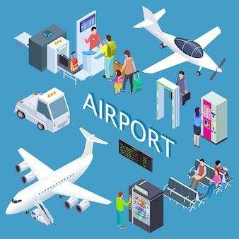 Ensemble isométrique de l'aéroport avec salle d'attente, snack-bar, comptoir d'enregistrement, illustration des avions