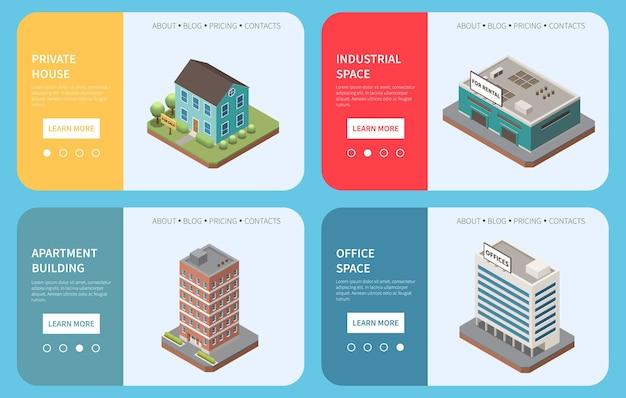 Ensemble isométrique d'agence immobilière de bannières horizontales avec texte d'images de construction et bouton en savoir plus