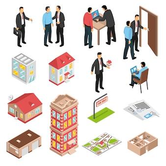 Ensemble isométrique d'agence immobilière