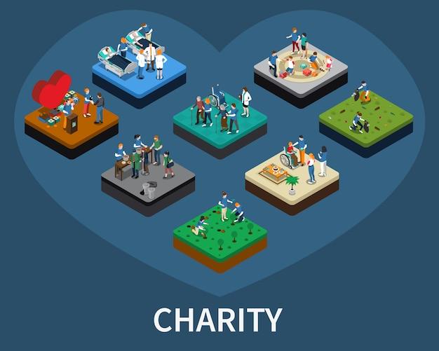 Ensemble isométrique de bénévoles et de charité