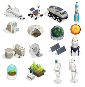 Ensemble isométrique de la colonisation de mars d'astronautes dans des combinaisons spatiales rover explorer éléments de panneau solaire satellite fusée spatiale
