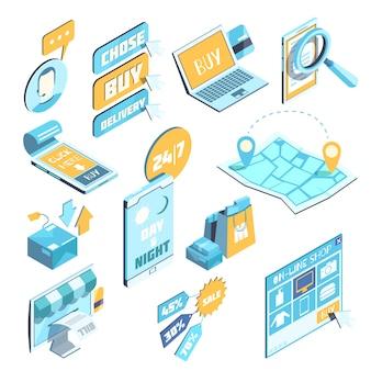 Ensemble Isométrique De Commerce électronique Vecteur gratuit