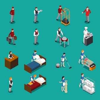 Ensemble isométrique du personnel de l'hôtel