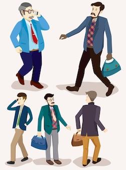 Ensemble isométrique de gens d'affaires