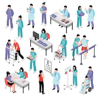 Ensemble isométrique d'hôpital médecin infirmière