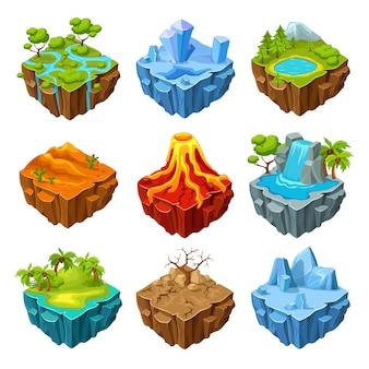 Ensemble isométrique d'îles de jeu d'ordinateur