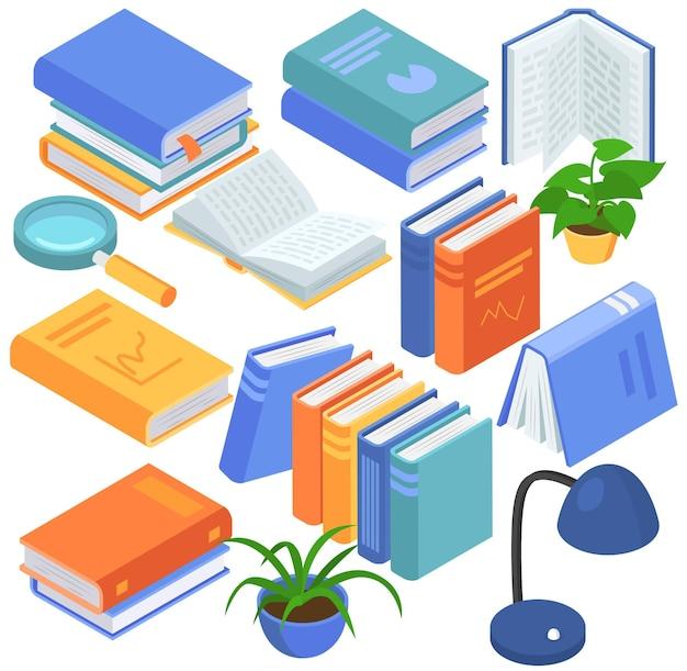 Ensemble isométrique de livres de bibliothèque, illustration vectorielle, éducation scolaire avec manuel papier, isolé sur collection blanche avec littérature.
