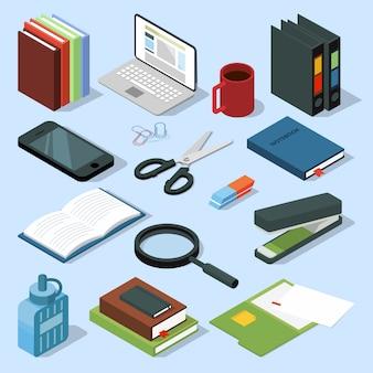Ensemble isométrique de matériel de bureau 3d. livres, chemises, crayons et autres articles de papeterie.