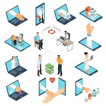 Ensemble isométrique de médecin en ligne