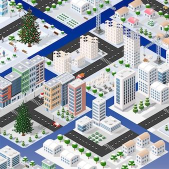 Ensemble isométrique de modules de blocs de zones de la construction de la ville de la ville perspective de conception de l'environnement urbain.