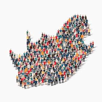 Ensemble isométrique de personnes formant la carte de l'afrique du sud, pays, concept d'infographie web d'espace encombré, plat 3d. groupe de points de foule formant une forme prédéterminée.