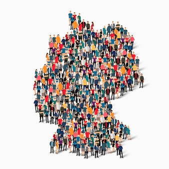 Ensemble isométrique de personnes formant la carte de l'allemagne