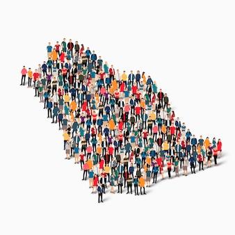 Ensemble isométrique de personnes formant la carte de l'arabie saoudite, pays, concept d'infographie web d'espace encombré, plat 3d. groupe de points de foule formant une forme prédéterminée.