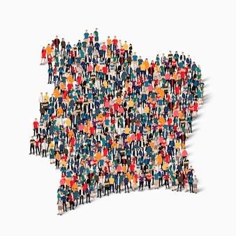 Ensemble isométrique de personnes formant la carte de la côte d'ivoire
