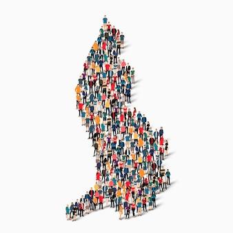 Ensemble isométrique de personnes formant la carte du liechtenstein, pays, infographie web concept d'espace encombré, plat 3d. groupe de points de foule formant une forme prédéterminée.