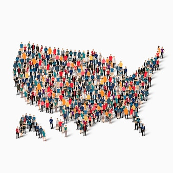 Ensemble isométrique de personnes formant la carte des états-unis d'amérique, usa