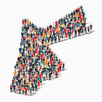 Ensemble isométrique de personnes formant la carte de la jordanie