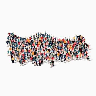 Ensemble isométrique de personnes formant la carte de la turquie