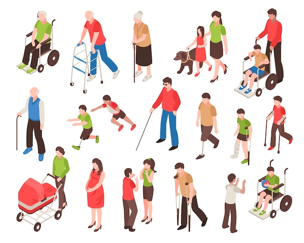Ensemble isométrique de personnes handicapées