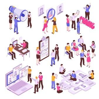 Ensemble isométrique avec des personnes à la recherche d'emploi sur fond blanc 3d