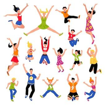 Ensemble isométrique de personnes sautant heureux