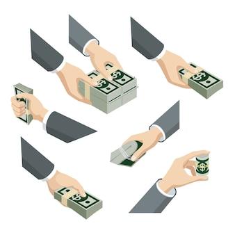 Ensemble isométrique plat d de mains avec des billets en dollars packs infographie web